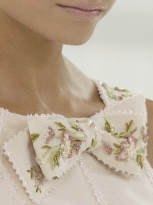 Intricate detail of Collar and Hemline